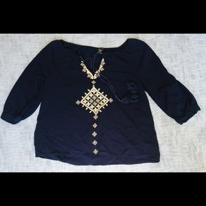 Navy Blue and cream boho top great with Jeans a